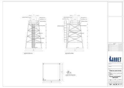 Arbet Ingeniería & Construcción. Cálculo estructural Torre de Almacenamiento de Agua, Pucón.